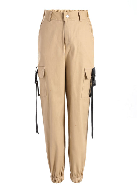 Women's Fashion 3 Color Casual High Waist Overalls Long Pants Ribbon Loose Trousers