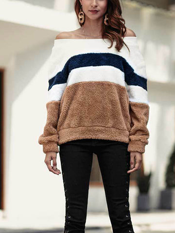 Long Sleeve Patchwork Off Shoulder Sweater