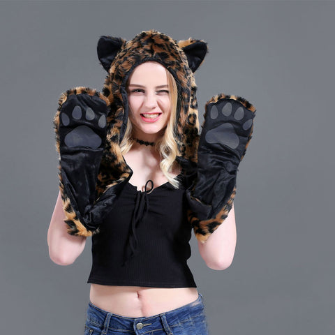 Sweet Faux Fur 3 In 1 Hat Scarf Gloves