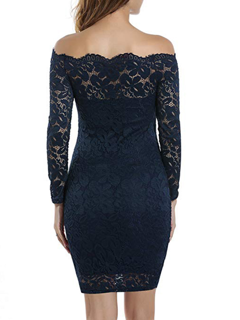 7324988f8725 ... Women s Off Shoulder Lace Dress Long Sleeve Bodycon Cocktail Party  Wedding Dress ...