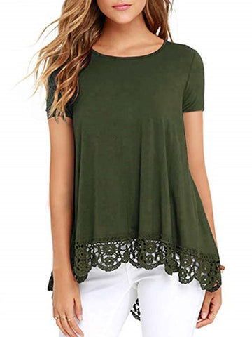 Short Sleeve Shift Casual Blouse