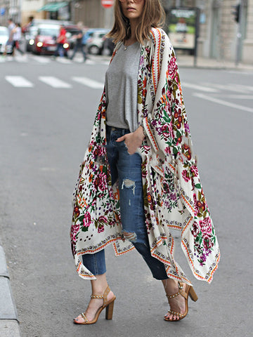 White Long Sleeve Floral Chiffon Cardigan
