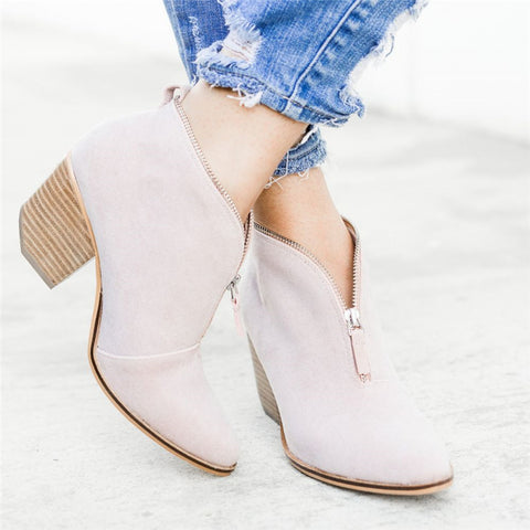 Fashion Zip-up V Cut Ankle Low Heel Slip On Boots
