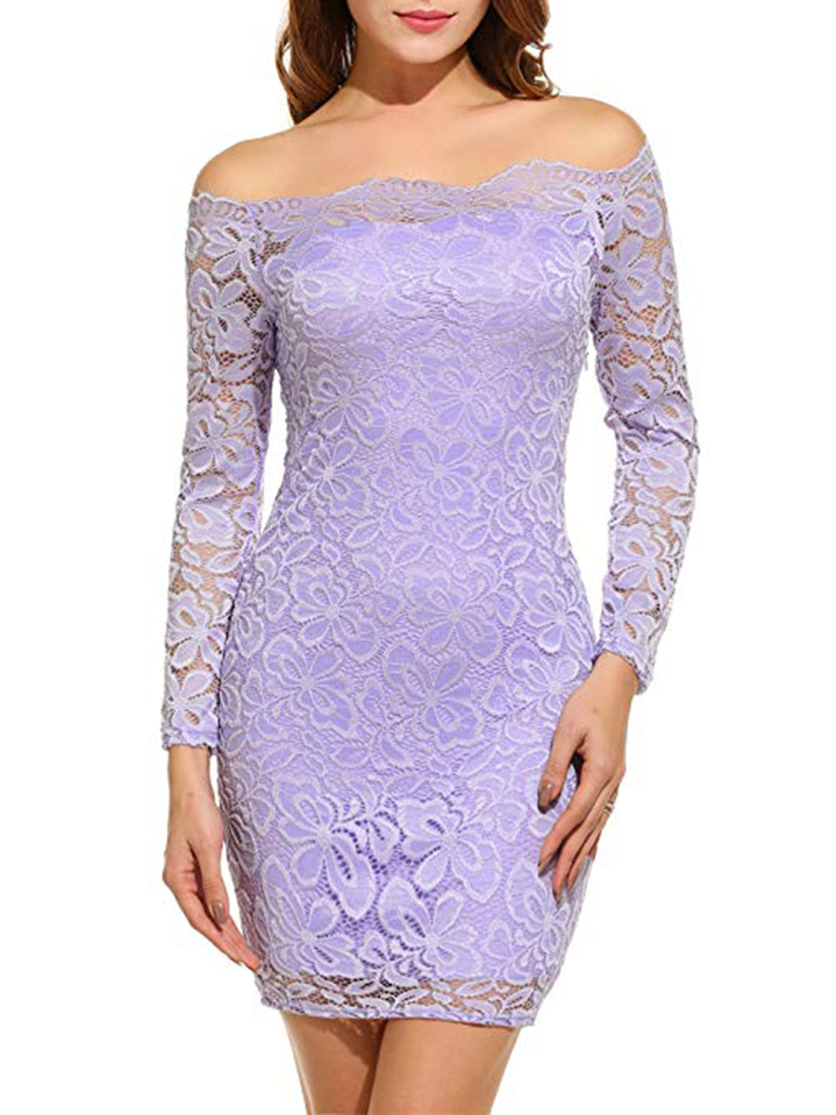 cf9d8b15804c Women s Off Shoulder Lace Dress Long Sleeve Bodycon Cocktail Party Wedding  Dress