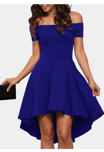 Sexy Off Shoulder Solid Swing Dress