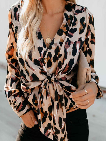 8089a0f419fb Leopard Long Sleeve V Neck Printed Blouse