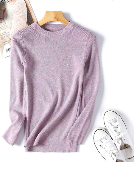 Shiny Autumn Winter Long Sleeve Pullover Women Basic Sweater