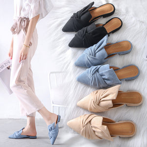 Elegant Pointed Toe Flat Shoes Women Slip-on Slippers