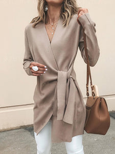 Long Sleeve Casual Solid V neck Cardigan - kattystory