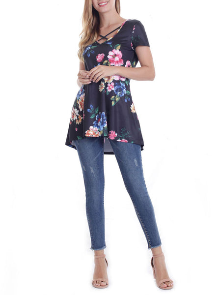 Shift V Neck Short Sleeve Casual Blouse