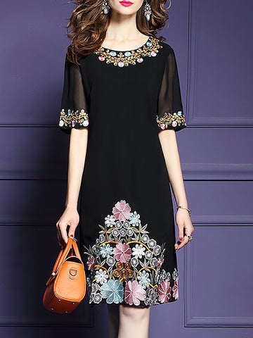 Elegant Short Sleeve Floral Midi Dress