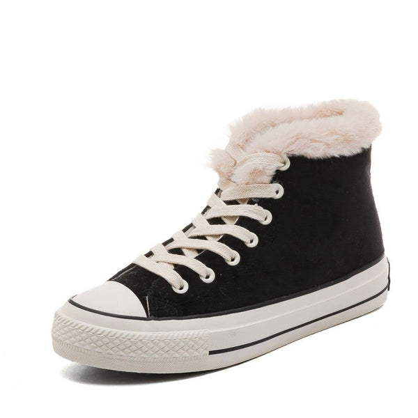 Women Suede Comfy Ankle Lace-Up Snow Boots - kattystory