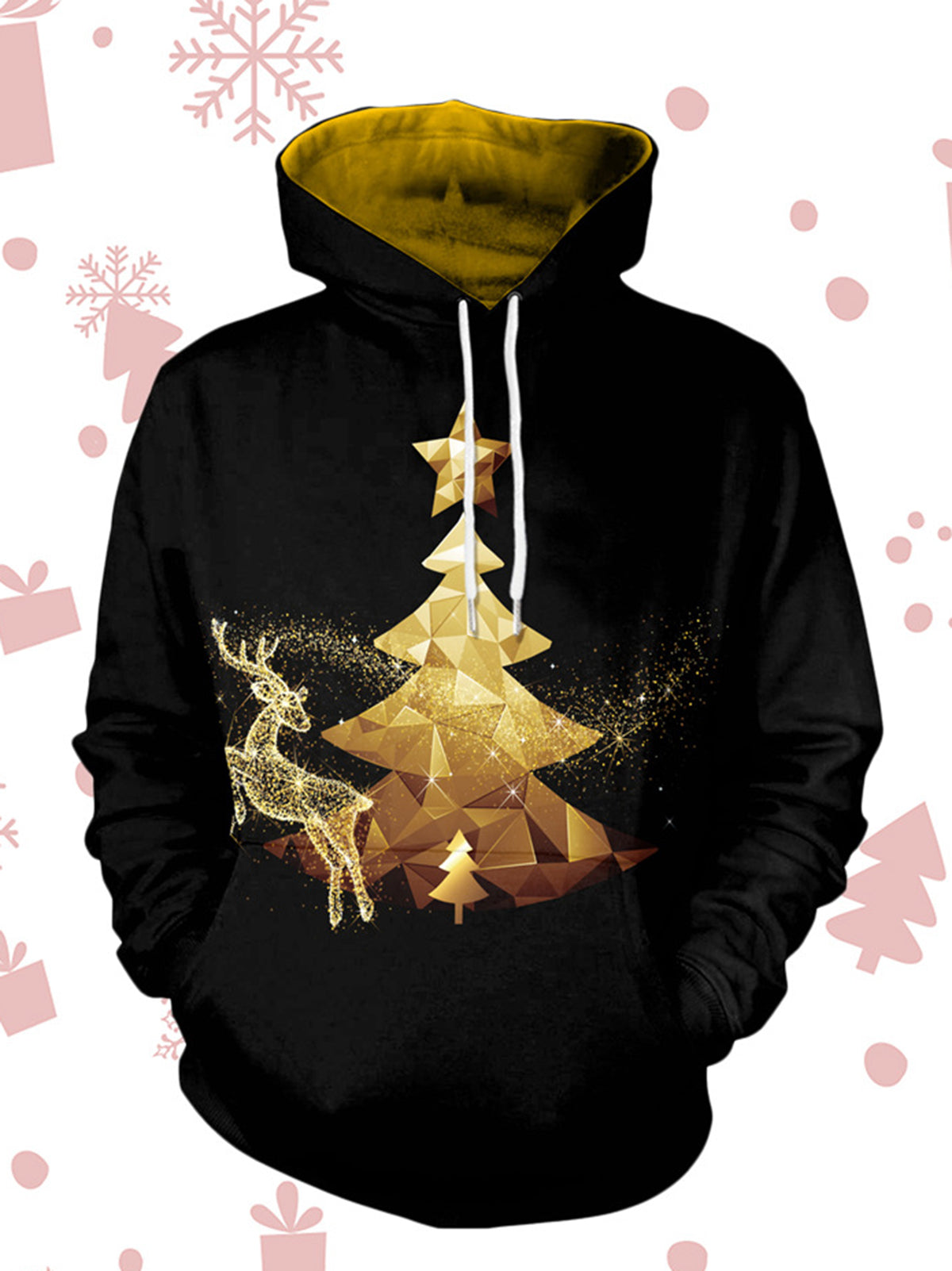 Christmas Printed Long Sleeve Graphic Hoodie Sweater - kattystory