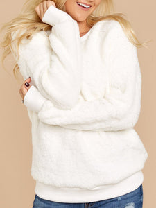 Plain Casual Long Sleeve Fuzzy Sweatershirt