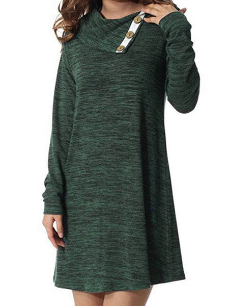 Cowl Neck Casual A-Line Long Sleeve Dress