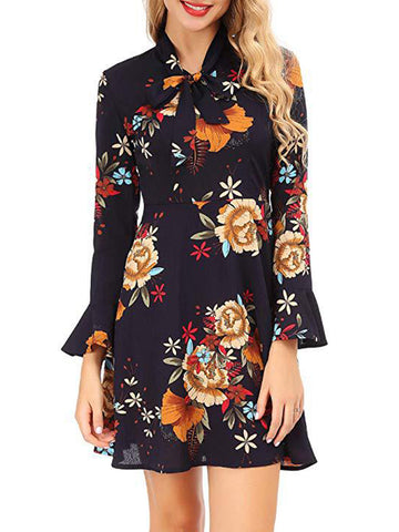 Women's Casual Floral Print Bell Sleeve Fit and Flare Dress