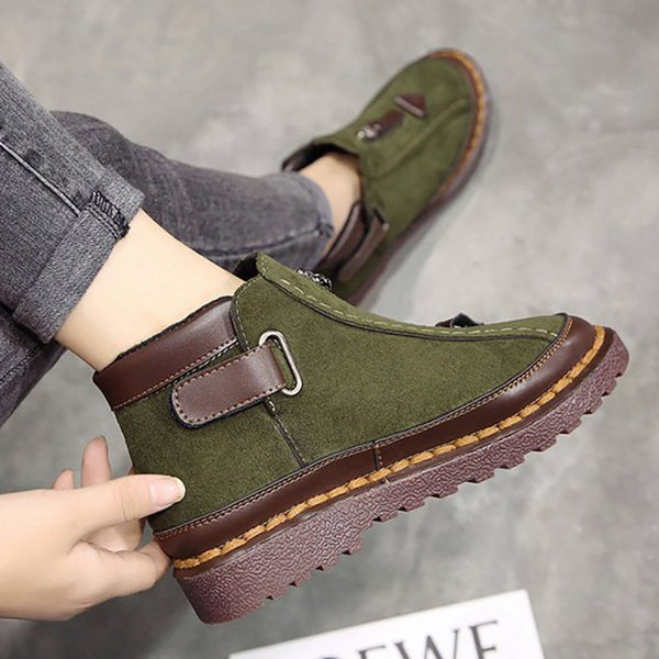 Women New Style Platform Flat Button Ankle Boots