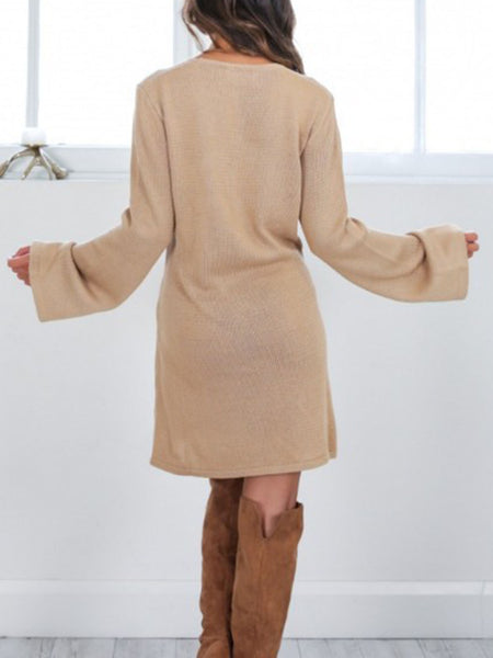 Women Daytime Long Sleeve Knitted Solid Fall Dress