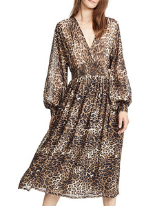 5a4745429adf Surplice Neck Daily Wrap Leopard Print Midi Dress