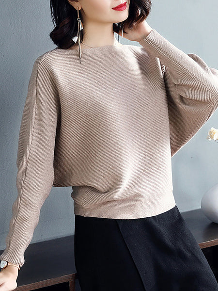 Batwing Casual Solid Sweater
