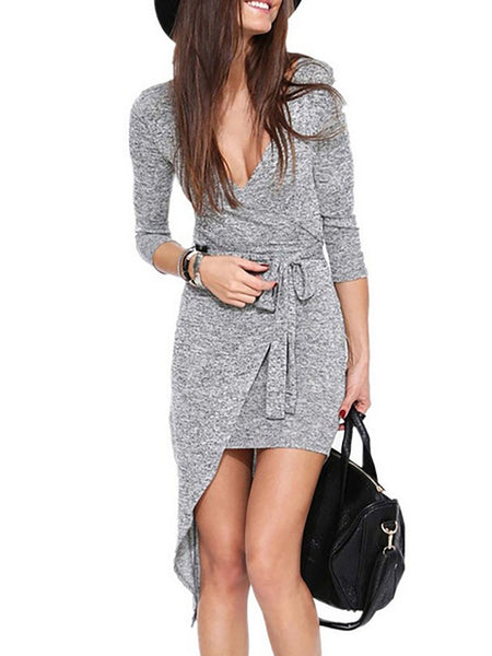 V neck Women Daily Long Sleeve Statement Plain Fall Dress - kattystory
