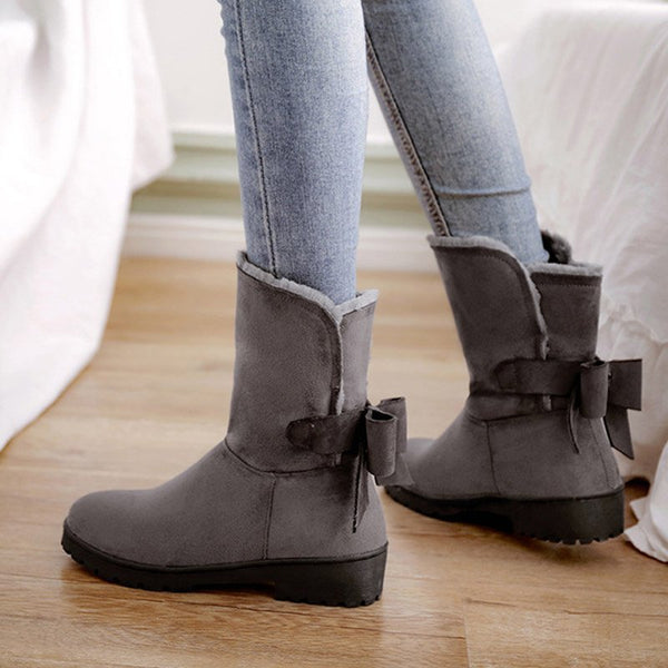 Women Casual Warm Snow Boots Slip On Bowknot Shoes