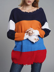 Both-sides Wear Color-block Sweater