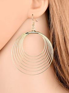Womens Simple Metal Hollowed-out Circular Earrings - kattystory