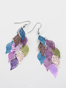 Women Leaf Copper Colorful Earrings - kattystory