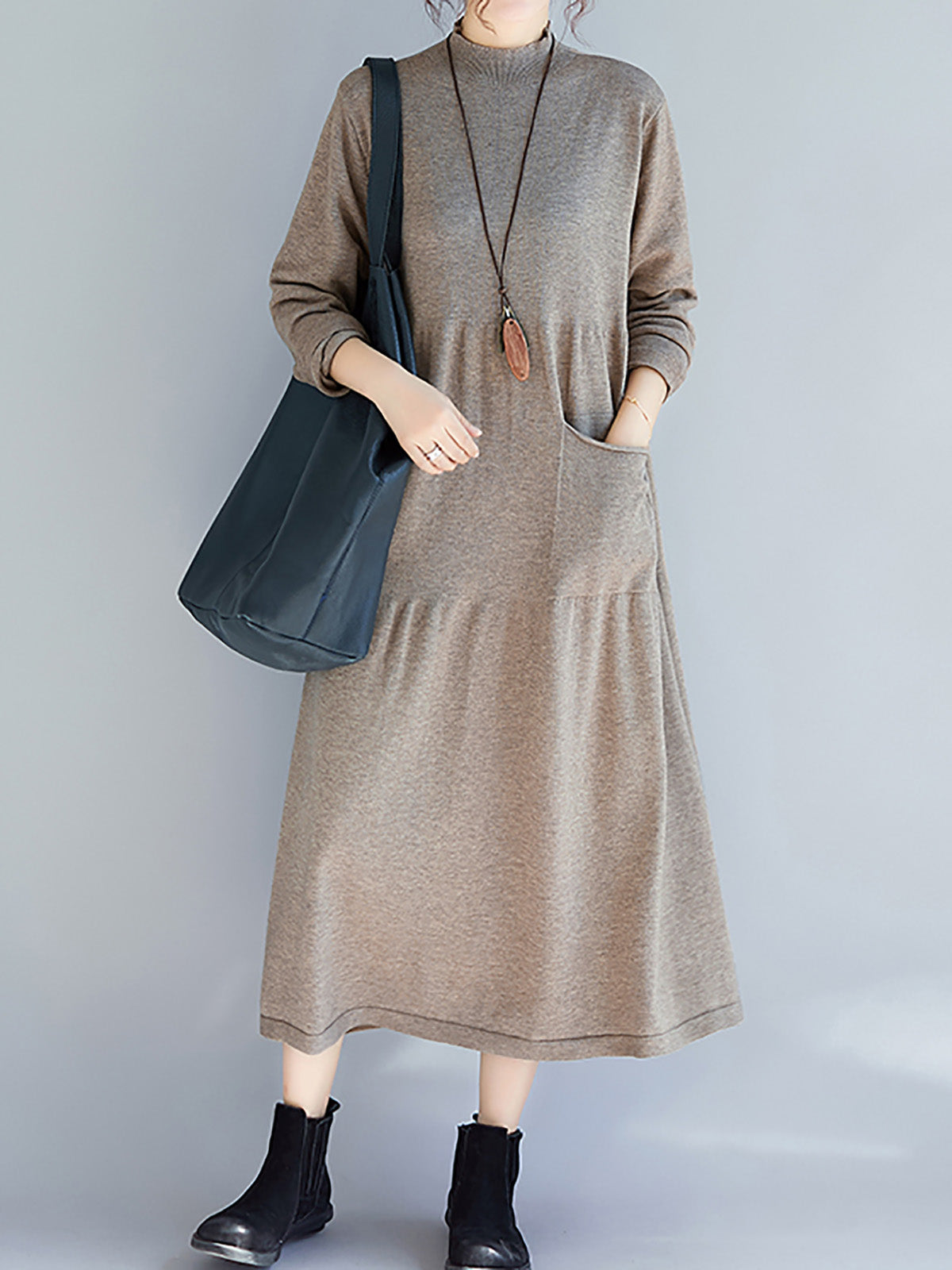 Solid Stand Collar Long Sleeve Casual Sweater Dress