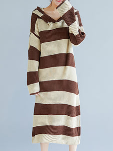 Shift Long Sleeve Striped Hoodie Sweater Dress
