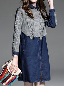 Solid Long Sleeve Shift Cotton Sweater Dress