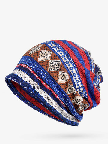 Dual Use Scarf Beanie Cotton Vintage Tribal Hat