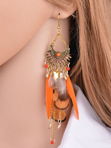 Womens Long Feather Pendant Tassel Earrings - kattystory