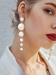 Womens Pendant Pearl Alloy Long Earrings - kattystory