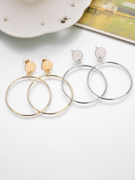 Womens Alloy Round Exaggerated Earrings - kattystory