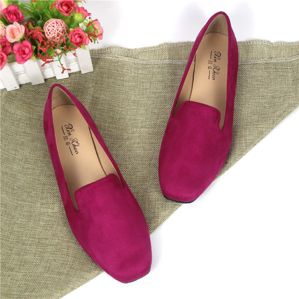 Large Size Solid Flocking Loafers - kattystory
