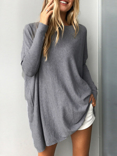 Casual Knitted Solid Batwing Sweater - kattystory