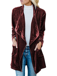 Fashion Casual Lapel Long Sleeve Gold Velvet Coat With Pockets