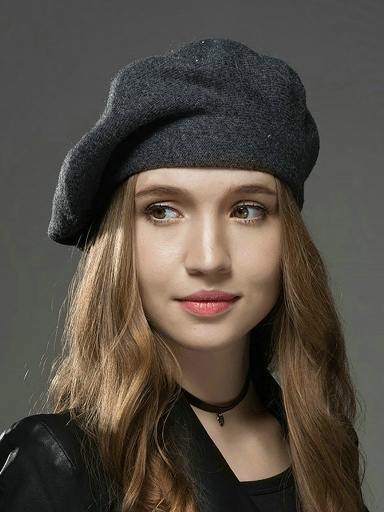5b98cfaf0ac65 kattystory All-match Beaded Wool Blend Casual Soft And Thermal Beret Hat
