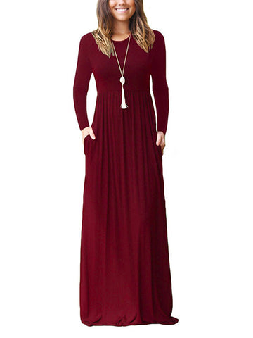Long Sleeve Solid Swing Wool Blend Dress