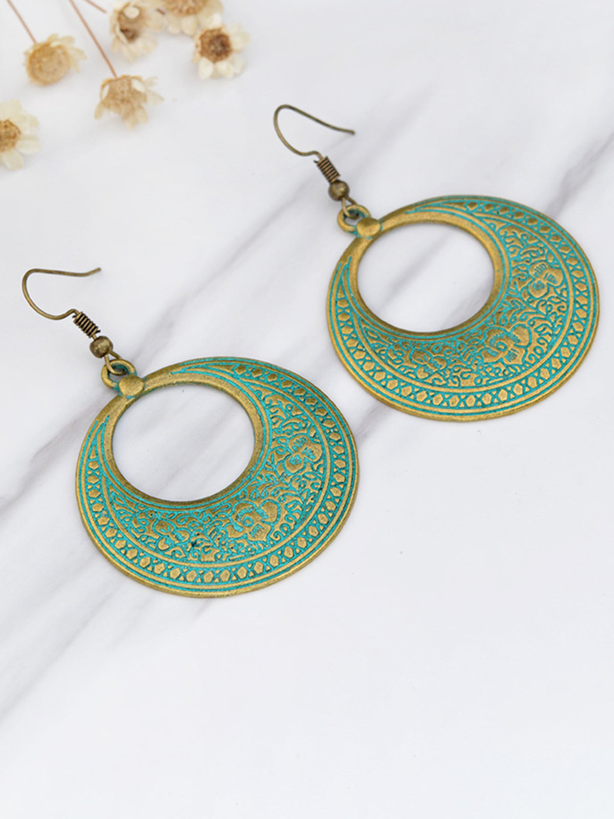 Womens Vintage Round Alloy Earrings - kattystory