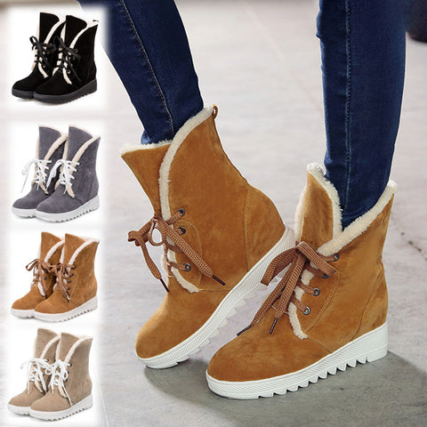 Wedge Heel Artificial Nubuck Winter Date Boots