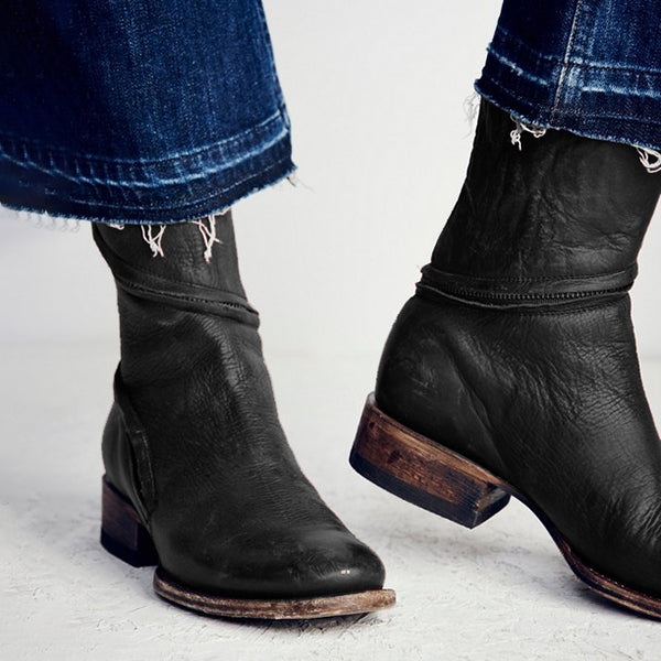 Women Distressed Ankle Boots Pointed Western Style Leather Boots - kattystory