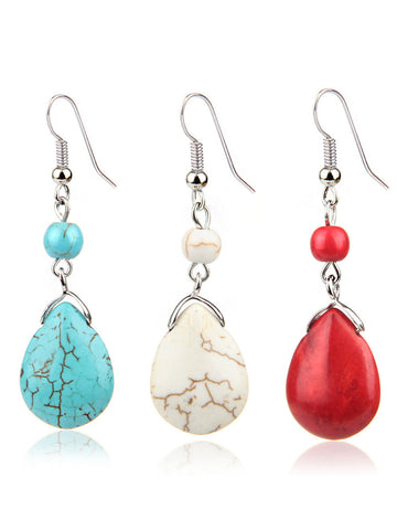 Women Vintage Turquoise Pendant Earrings