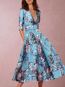 Blue Holiday Floral Printed Swing V neck Half Sleeve Party Maxi Dress