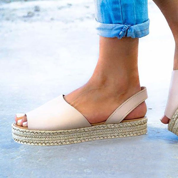 Women PU Creepers Sandals Casual Back Strap Peep Toe Shoes - kattystory