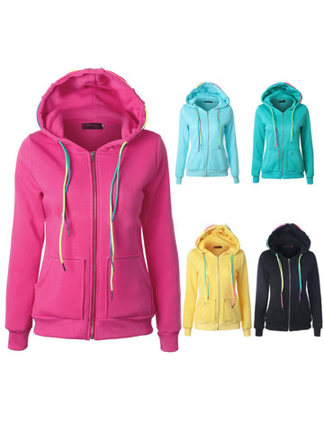 Women Zipper Pockets Colorful Rope Hoodies Coat