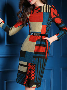 Multicolor Wool Long Sleeve Graphic Sweater dress - kattystory