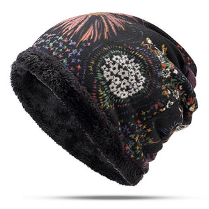 Women's Ethnic Cotton Beanie Hat Vintage Good Elastic Warm Turban Scarf Cap